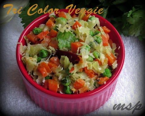 Cabbage Peas Carrot Poriyal