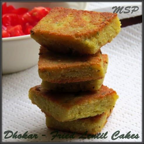 Dhokar dalna - Fried lentil cakes in a tomato gravy