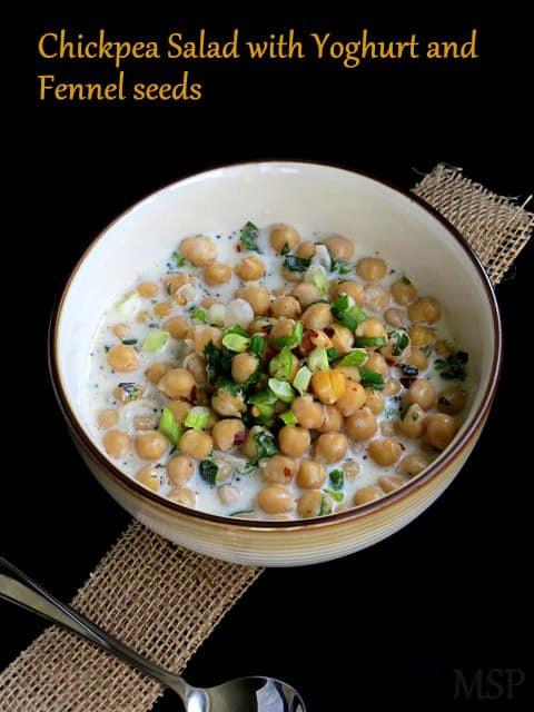 Chickpea Salad with Yoghurt, fennel seeds and fresh herbs