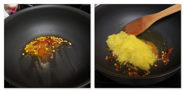 Stepwise process shot of picture collage of raw mango rice showing how to do tempering (maangai sadam)
