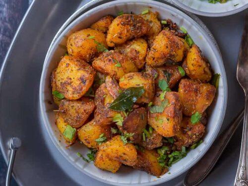 Jeera aloo - Roasted potatoes with cumin seeds and spicy masala