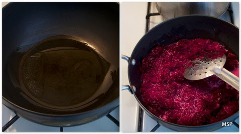 Stepwise pictorial representation of how to make beetroot halwa
