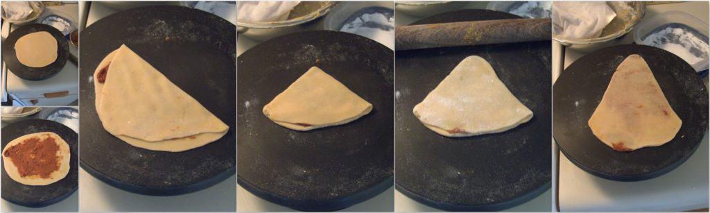 Process shot for how to fold the besan masala roti in a triangular shape.