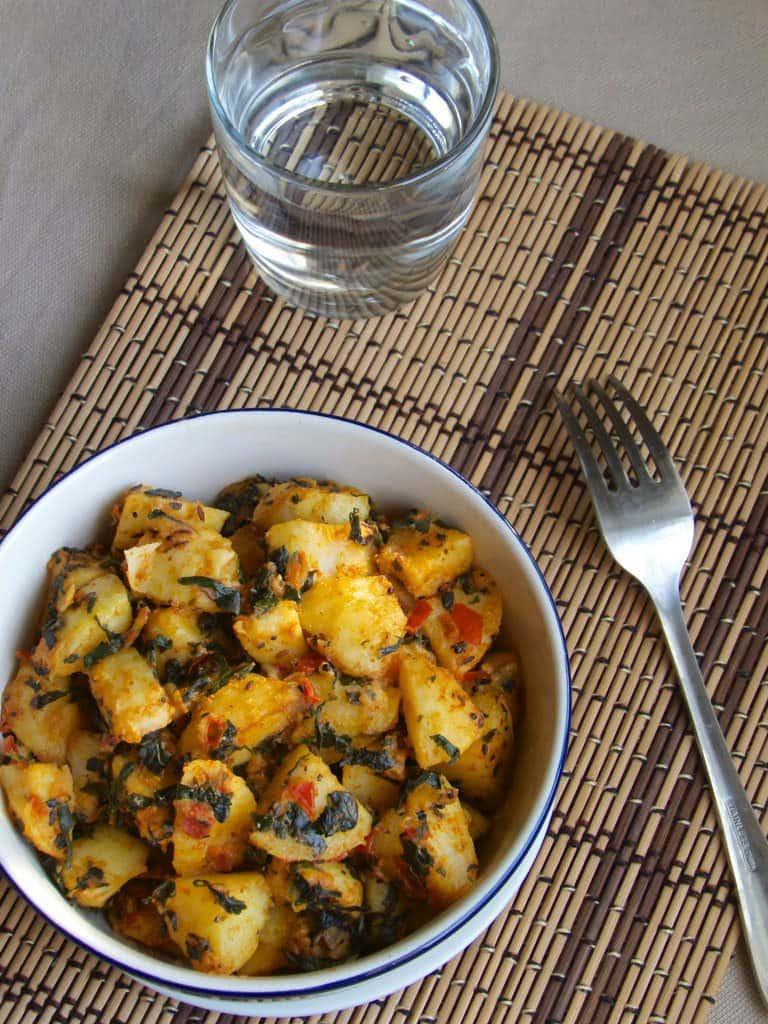 Aloo methi subzi   Potato fenugreek stir fry