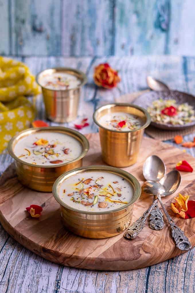 Besan kheer shot in a festive way.