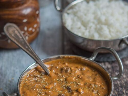 Close up shot of the Dal makhani, rich and delicious lentil based dish.