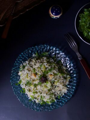 Fennel scented Spring Onion Pulav