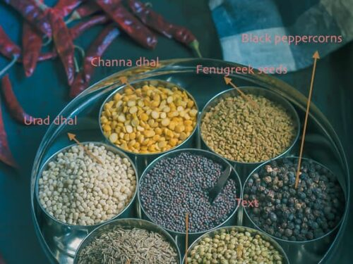 Essential South Indian spice ingredients displayed in an Indian spice rack called anjaraipetti.