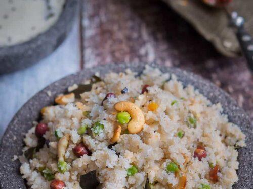 Rava Upma recipe displayed on a rustic setting