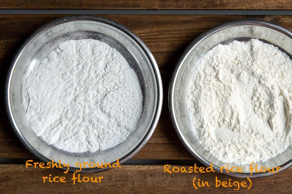 Process shot for roasting the rice flour for preparing navarathri puttu.