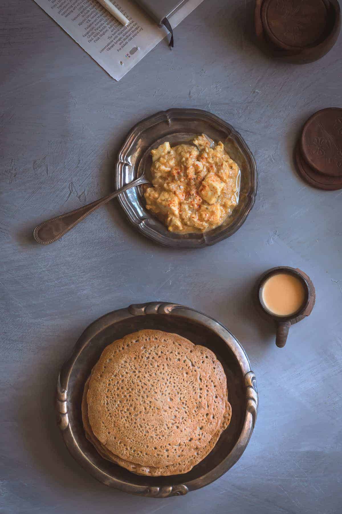 Khura is a traditional East Indian breakfast. Fermented batter with buckwheat flour and chaang, alcoholic beverage. These soft, fluffy pancakes are simple, quick, gluten free and can be made diary free!