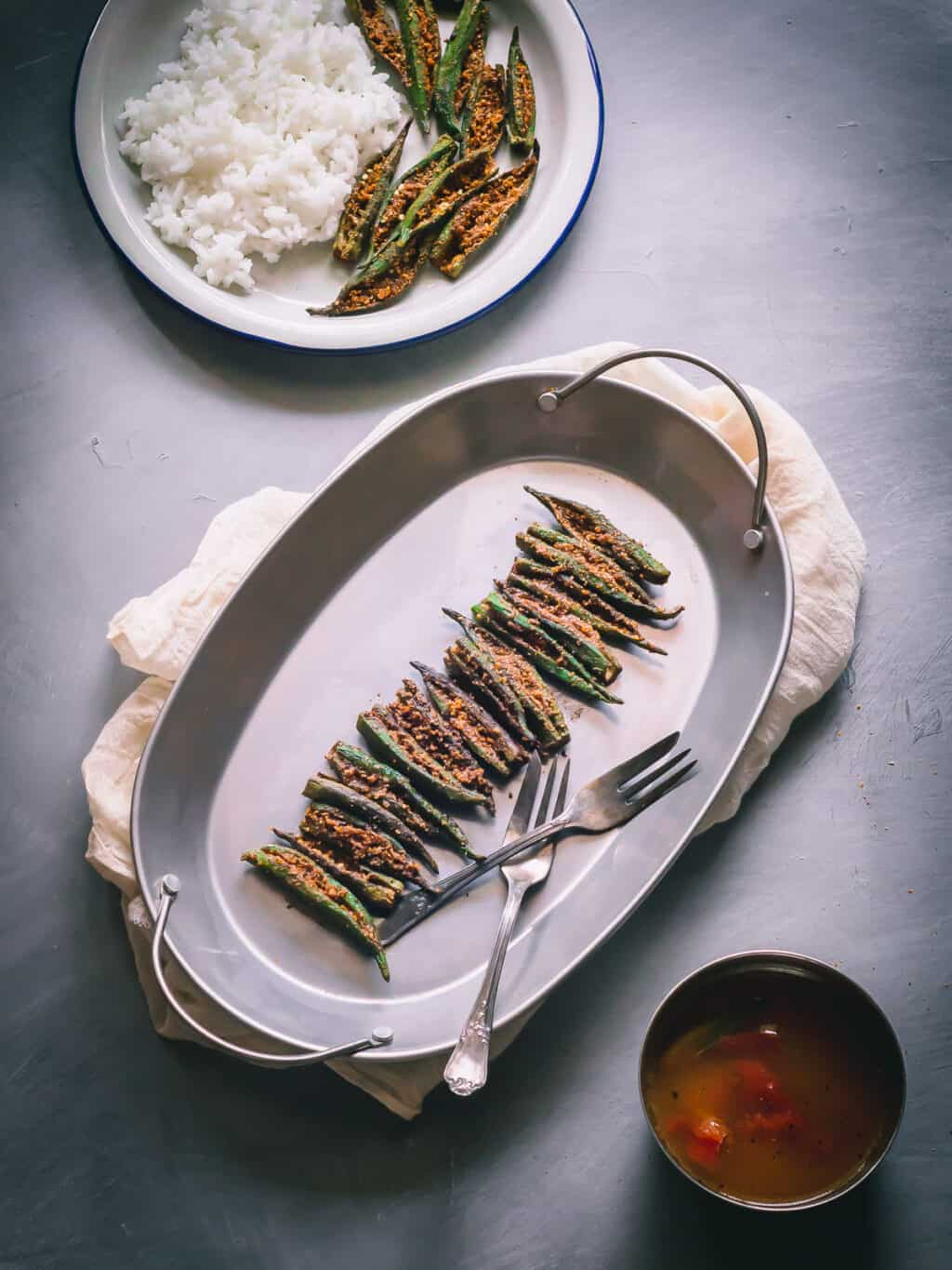Stuffed okra, with aromatic spices made the South Indian way.